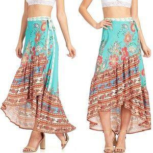 Wrap Ruffle Maxi High Low Skirt